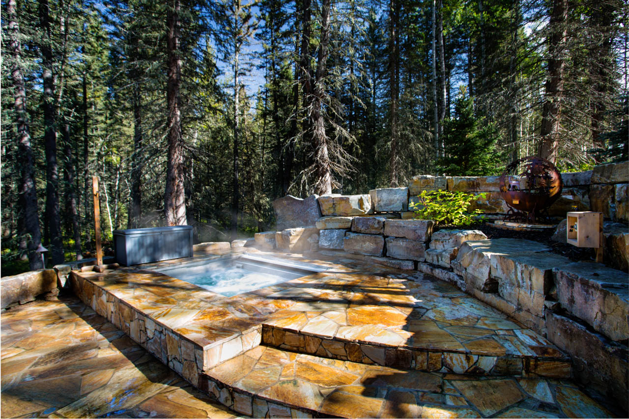 Architectural landscape design, Pools and Spas in Calgary AB. Commercial photography by Barbara Blakey